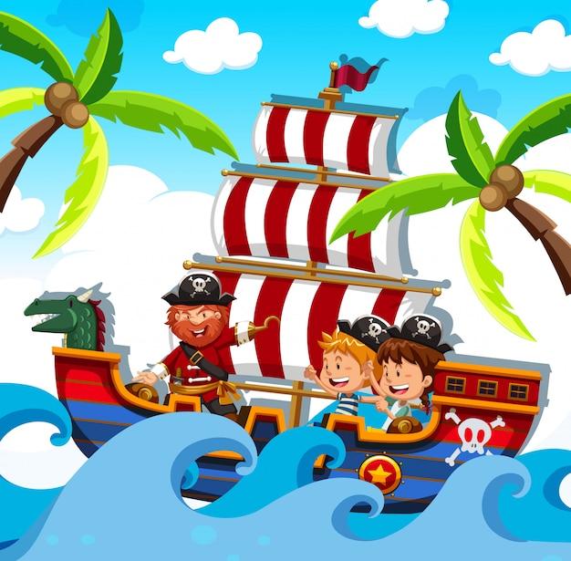 Pirat z szczęśliwymi dziećmi na statku