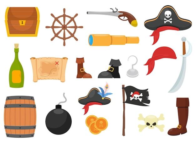 Pirat zestaw ilustracji na białym tle
