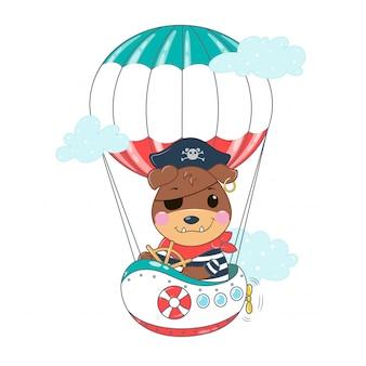 Pirata pies na lotniczym statku wśród chmur. wektorowa kawaii buldoga ilustracja w płaskich kolorach.