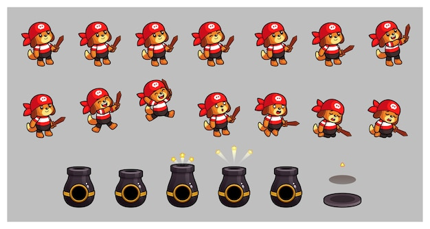 Pirate dog and cannon gra sprites