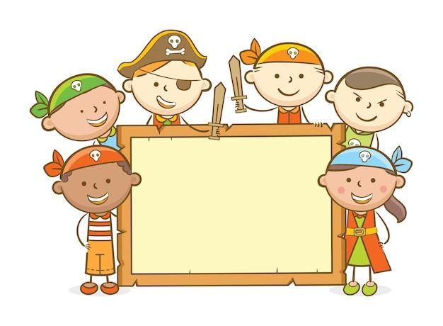 Pirate kids wooden board