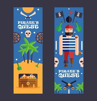 Pirate quest game banner zabawna impreza dla dzieci. impreza w stylu pirackim