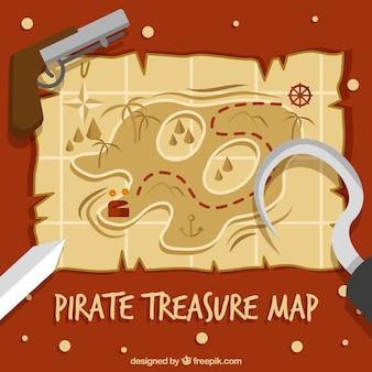 Pirate skarb mapę z elementami dekoracyjnymi