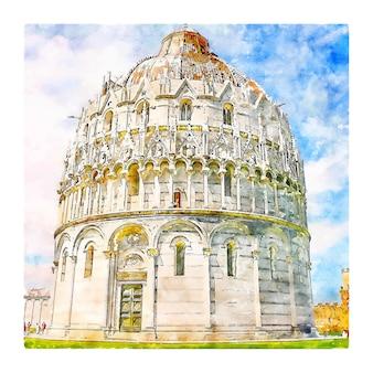 Pisa toskania włochy szkic akwarela ręcznie rysowane ilustracji