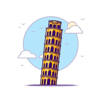 Pisa tower ilustracje. koncepcja zabytków biały na białym tle. płaski styl kreskówki