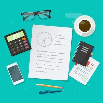Pisać analizy zawartości na pracującym stole lub uczyć się i studiuje badawczego biurko widok z papieru prześcieradła teksta ilustracyjną płaską kreskówką