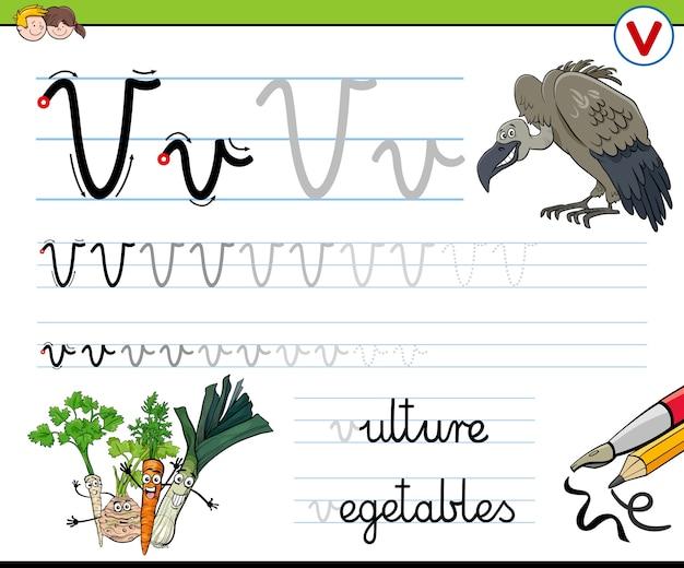 Pisanie arkusza ćwiczeń z literą v dla dzieci