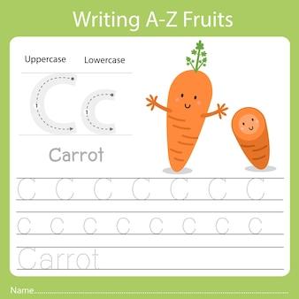 Pisanie az owoców a to marchewka