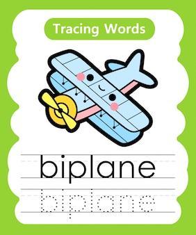 Pisanie słów ćwiczebnych: śledzenie alfabetu b - dwupłatowiec
