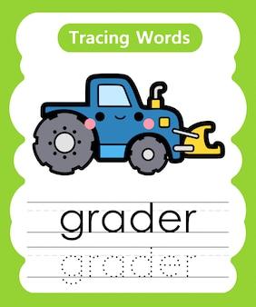 Pisanie słów ćwiczebnych: śledzenie alfabetu g - równiarka