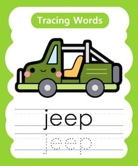 Pisanie słów ćwiczebnych: śledzenie alfabetu j - jeep