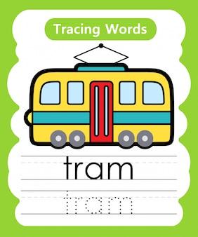 Pisanie słów ćwiczebnych: śledzenie alfabetu t - tramwaj