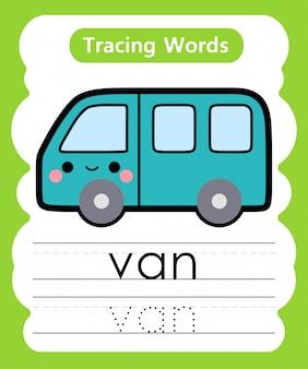 Pisanie słów ćwiczebnych: śledzenie alfabetu v - van