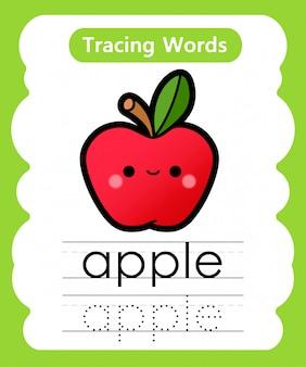 Pisanie słów ćwiczeń: śledzenie alfabetu a - apple