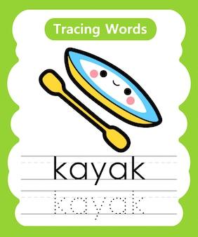 Pisanie słów ćwiczeniowych: śledzenie alfabetu k - kajak