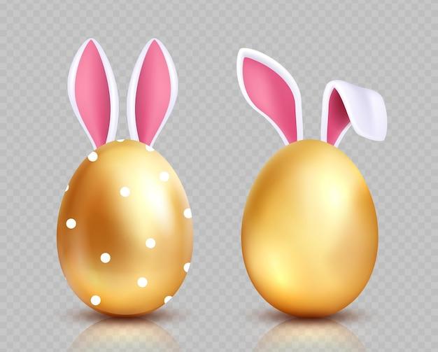 Pisanki. polowanie na złote jajka, uszy królika. na białym tle realistyczne wiosenne elementy świąteczne. złote jajko z uszami królika, ilustracja projekt wielkanocny