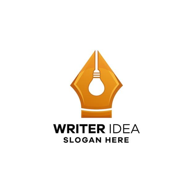 Pisarz idea gradient logo szablon