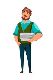 Pisarz męski charakter ze stosem stron papieru w ręku