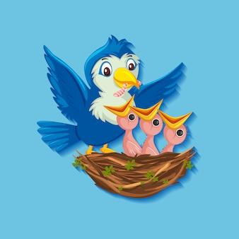 Pisklęta Karmienia Ptaków Premium Wektorów
