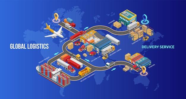 Pisma globalnej logistyki i usługi dostawy w pobliżu wykresu