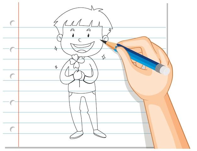 Pisma ręcznego chłopca trzymając kontur kwiat