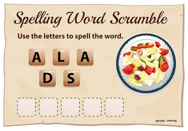 Pisownia gra słów z sałatką słowo