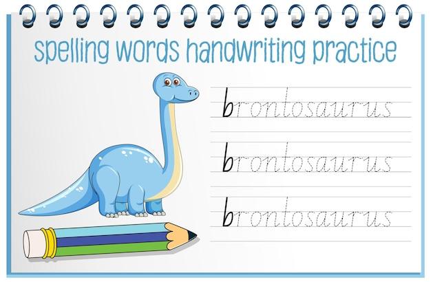 Pisownia słów arkusza ćwiczeń pisma odręcznego dinozaura