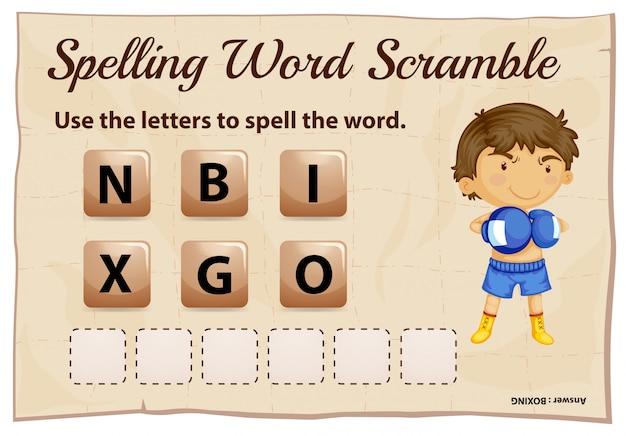 Pisownia słowa gramoli się szablon gry z boks słowo