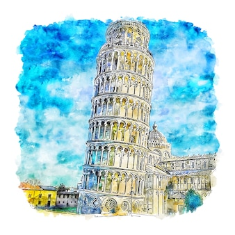 Pissa tower włochy szkic akwarela ręcznie rysowane ilustracji