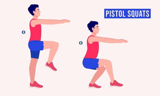 Pistol squats ćwiczenie mężczyźni trening fitness aerobik i ćwiczenia