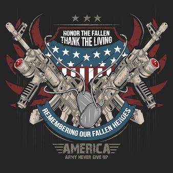Pistolet broń amerykański ak machine gun vector flaga usa sztuka