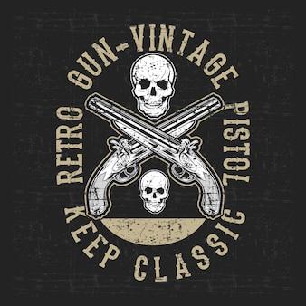 Pistolet i czaszka styl grunge ilustracji