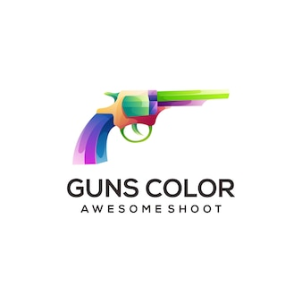 Pistolet kowboj logo kolorowy gradient