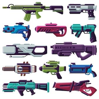 Pistolet laserowy blasterowy strzelec wektorowy z futurystyczną bronią i pistoletem