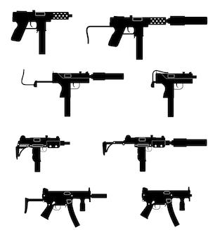 Pistolet maszynowy pistolet maszynowy broń czarna zarys sylwetki na białym tle