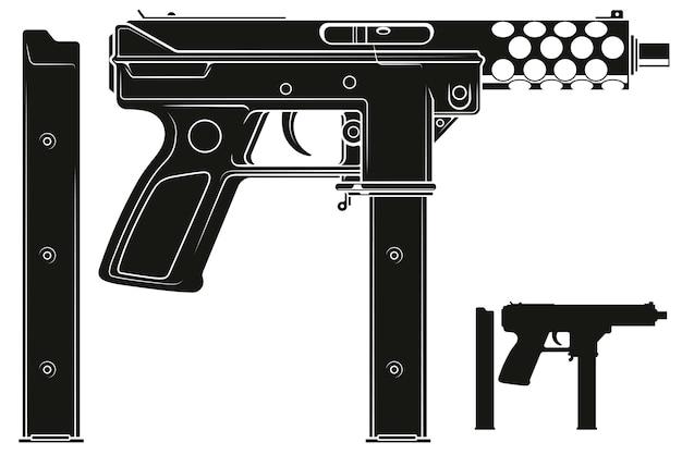 Pistolet maszynowy z graficzną sylwetką z magazynkiem na amunicję