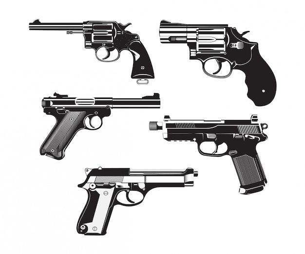 Pistolet na białym tle vintage wysokiej szczegółowe