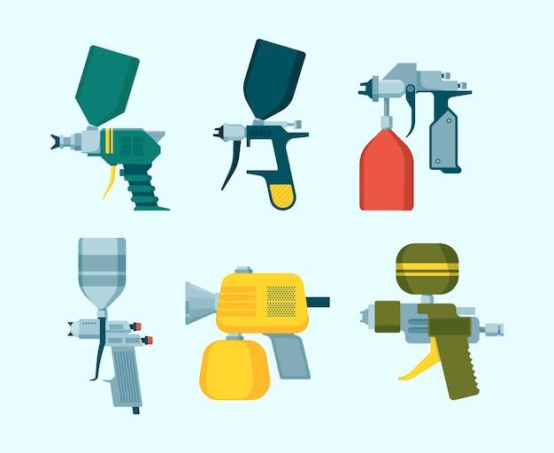 Pistolet natryskowy. malowanie aerografem sprzętu do rysowania samochodu przemysłowego spray wektor płaskie ilustracje zestaw. narzędzie do malowania natryskowego do aerografu, opryskiwacza samochodowego