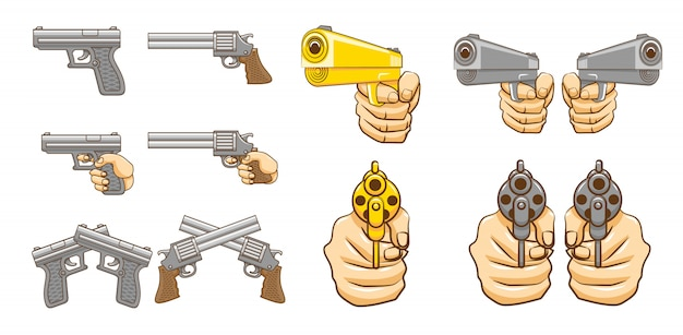 Pistolet zestaw kolekcja grafika clipartów projekt