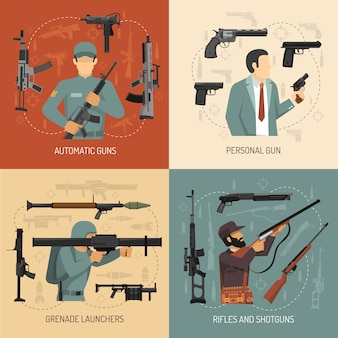 Pistolety broń 2 x 2 design concept