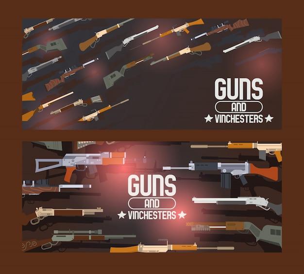 Pistolety i winchesters zestaw bannerów broń automatyczna pistolet maszynowy pistolet wojskowy bojowy