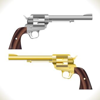 Pistolety rewolwerowe srebrne i złote na białym tle