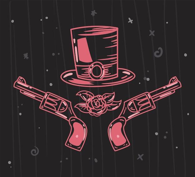 Pistolety z doodlem kapelusza