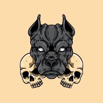 Pitbull i głowa czaszki