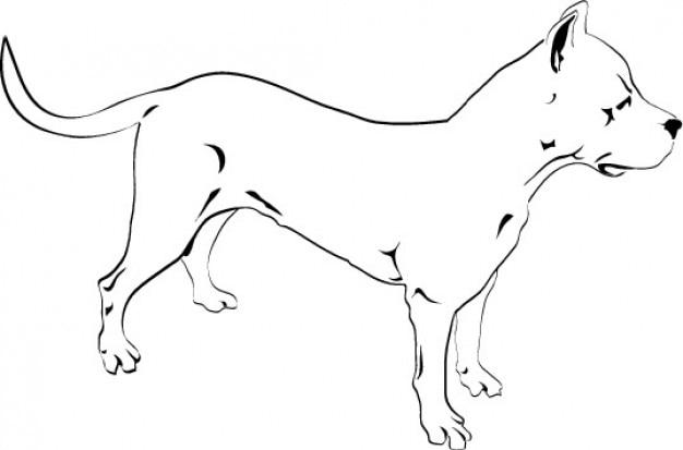 Pitbull pies rysunek ikona wektor