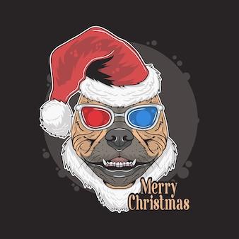 Pitbull w świątecznej czapce w okularach