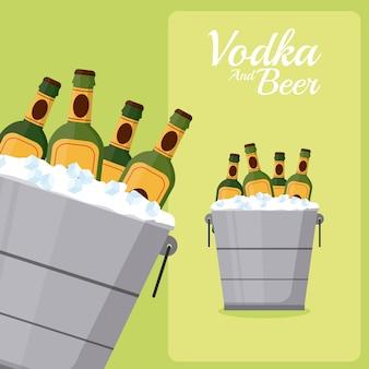 Piwa butelek w wiaderku z lodem