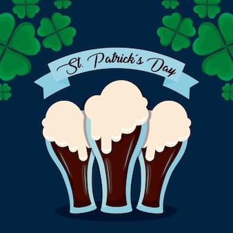 Piwa w szklankach św. patryka
