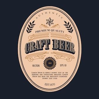 Piwna etykietka antyka ramy rocznika granicy zachodnia retro ilustracja