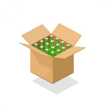 Piwne butelki pakują karton ilustrację